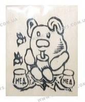 """Детская Деревянная заготовка """"Мишка с медом"""" на магните с контурами рисунка, 171813"""