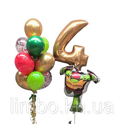 Шарики на день рождения мальчику с фольгированной фигурой черепашка ниндзя  и шарик цифра 4, фото 2