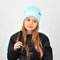 Бавовняна подвійна дитяча шапочка м'ятного кольору
