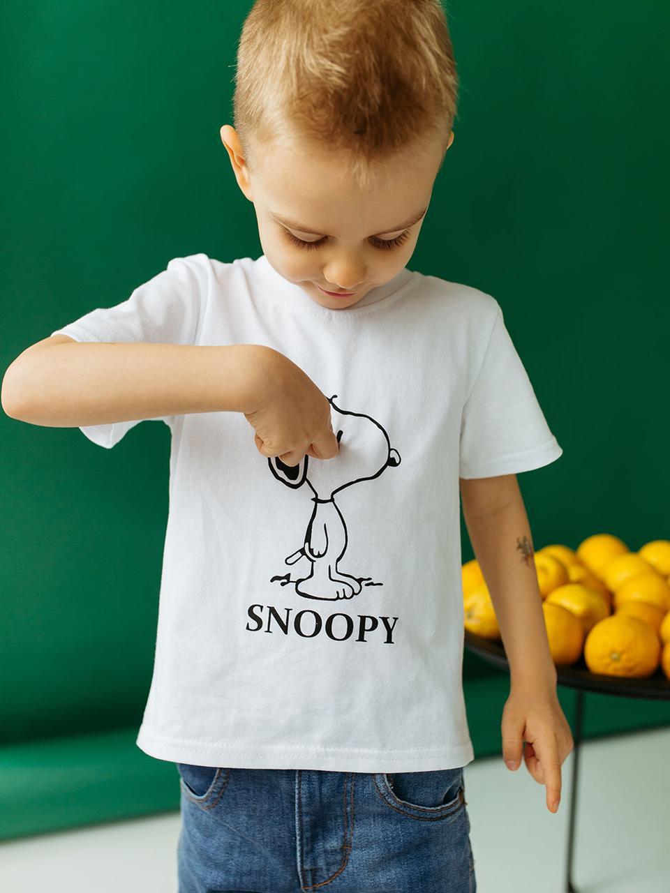 Дитяча футболка на хлопчика с принтом  (Розмір: 110, 116, 122, 128, 134, 140) Білий