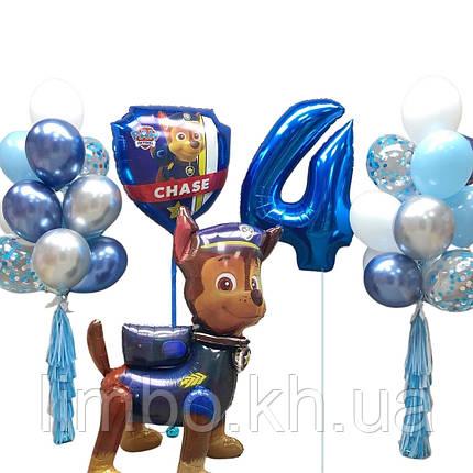 Композиция из шаров на день рождения, цифры из фольги и ходячая фигура щенячий патруль, фото 2