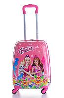 Дитячий пластиковий чемодан для подорожей Barbie рожевий