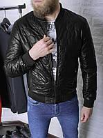 Кожаная куртка мужская Casual черная   Кожанка весенняя осенняя демисезонная   Бомбер кожаный ЛЮКС качества