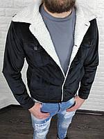 Куртка мужская весенняя осенняя велюровая на меху Casual черная   Демисезонная куртка мужская ЛЮКС качества