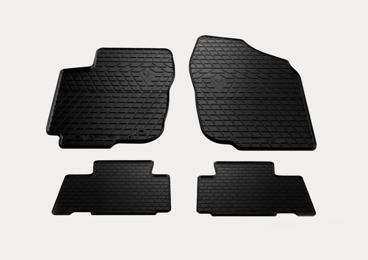 Гумові килимки в салон Volkswagen Polo sedan 2009 (design 2016) з пластиковими кліпсами AV2