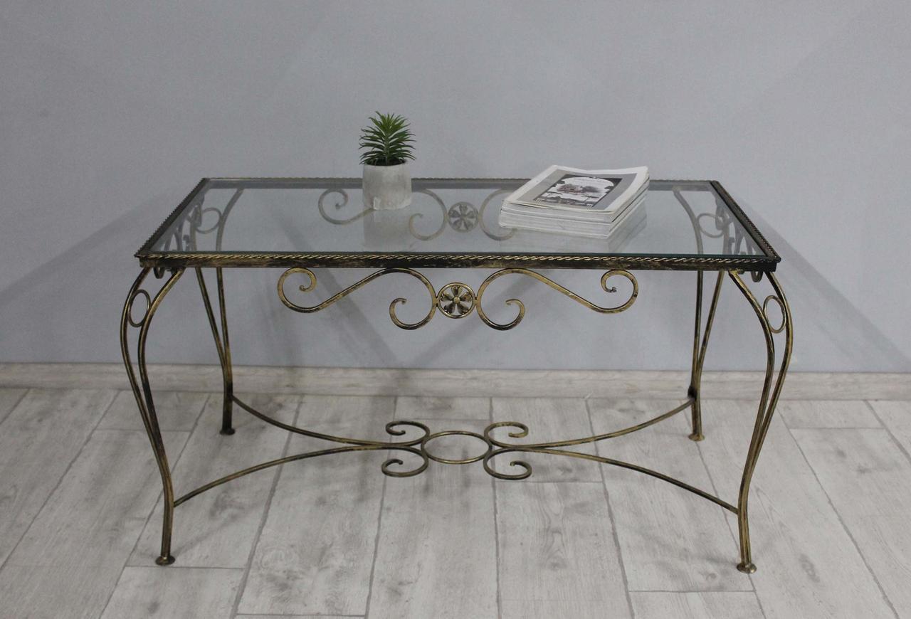 Столик кованый Sovalle Марсель, каркас черное золото, стекло прозрачное 0102-02