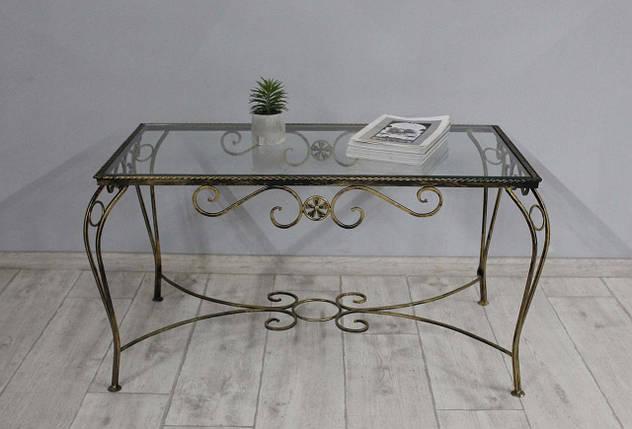 Столик кованый Sovalle Марсель, каркас черное золото, стекло прозрачное 0102-02, фото 2