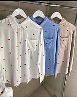 Женская рубашка принт сердечки, фото 1