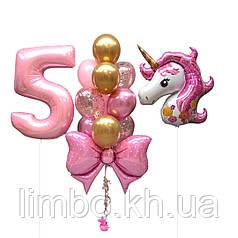 Шарики на день рождения девочке с Единорогом  и цифры из фольги