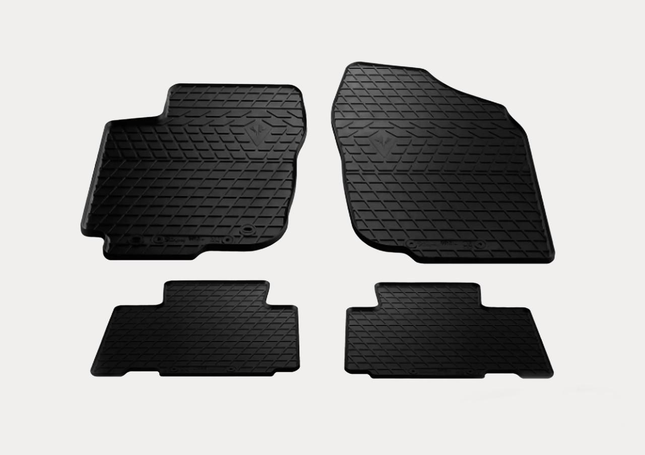 Резиновые коврик в салон Volkswagen Touran II 2010 (design 2016) с пластиковыми клипсами AV2