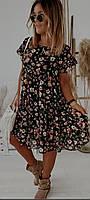 Платье женское летнее шифоновое цветочный принт миди 42-46, 48-52
