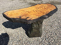НАБОР. Журнальный столик из дерева Шелковицы и натурального гранита. Камень & гранит., фото 1