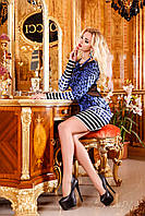 Платье из вставками сетки, леопардовая расцветка, обтягивающий покрой, рукава до кисти рук, 42-48 размер