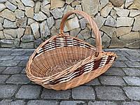 Кошик з натуральної лози для дров світло-коричнева розмір M 59х32 см Польща, фото 1
