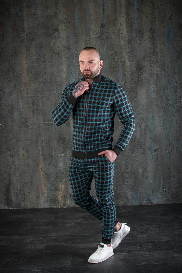 Мужской спортивный костюм в клетку бомбер и штаны Scot Green