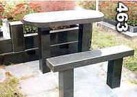 Гранитный стол и лавочка на кладбище образец № 463