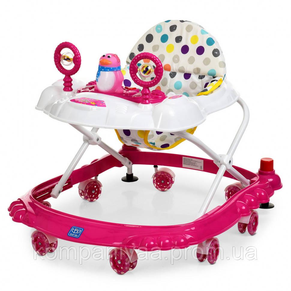 Дитячі ходунки на колесах зі стопери M 3168 (Рожевий)