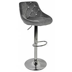Барний стілець зі спинкою Bonro B-801C велюр сіре