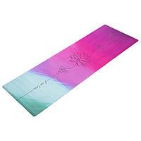 Фитнес коврик для йоги замшевый каучуковый двухслойный 3мм Record FI-5662-36
