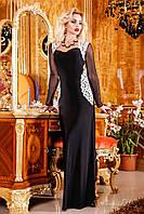 Роскошное длинное вечернее платье с рукавами сеткой, кружевными вставками из кожи, 44-50 размер