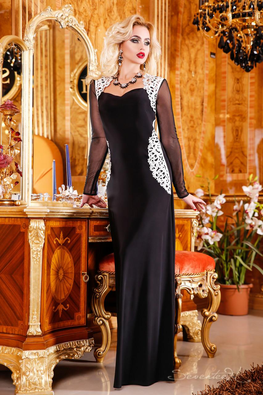 Роскошное длинное вечернее платье с рукавами сеткой 5c1fa2846a9cd