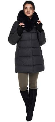 Черная куртка женская с прорезными карманами модель 31027, фото 2