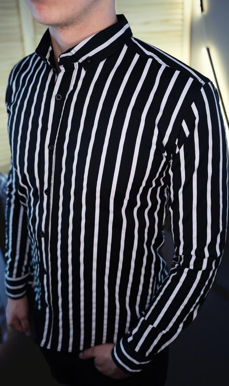Мужская рубашка черная в белую полоску/2 цвета в наличии