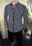 Мужская рубашка черная в белую полоску/2 цвета в наличии, фото 2