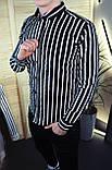 Мужская рубашка черная в белую полоску/2 цвета в наличии, фото 3