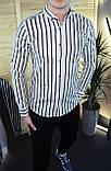Мужская рубашка черная в белую полоску/2 цвета в наличии, фото 5