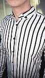 Мужская рубашка черная в белую полоску/2 цвета в наличии, фото 6