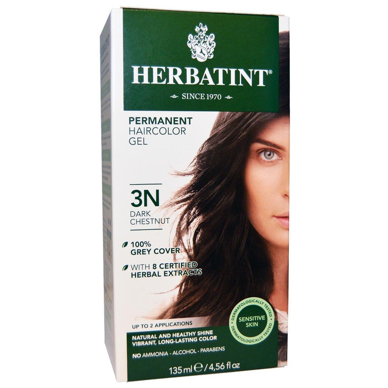 Перманентна фарба для волосся, 3N, темний каштан (135 мл), Herbatint