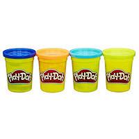 Плей-До набор пластилина из 4 банок по 112 гр. Синий, оранжевый, салатовый, голубой Play-Doh Starter Pack