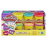 Плей-До набор пластилина Блестящая коллекция из 6 баночек Play-Doh Hasbro