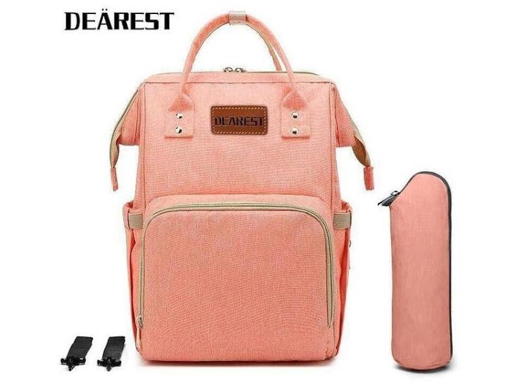 Рюкзак органайзер для мам Сумка для коляски оранжевый персик