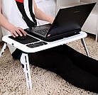 Столик подставка для ноутбука с кулером E-Table раскладной складной столик для планшета с охлаждением, фото 10