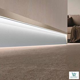 Светящийся плинтус алюминиевый для пола 63х10х2800 мм. Встроенный LED-плинтус в стену Profilpas SKL/2