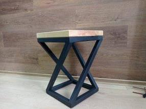Табурет обеденный Лофт металл черный сидение дерево Ясень (ArtCenter-TM)