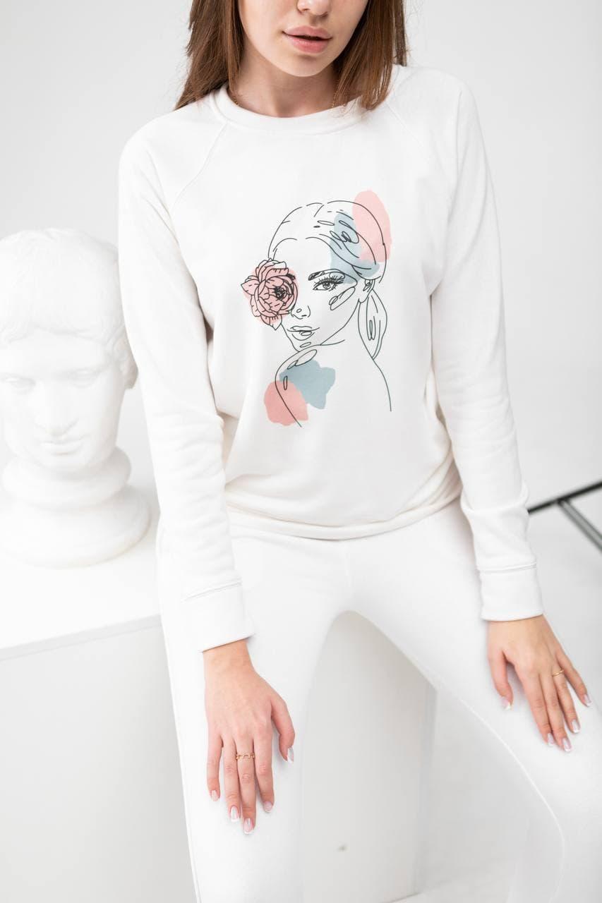 Костюм жіночий (світшоти + штани) білий. Стильний жіночий костюм (штани + реглан) білого кольору.