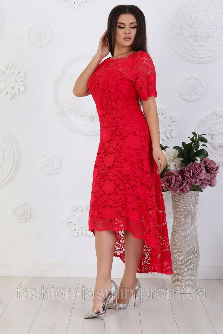 Жіноче довге мереживну сукню червоний колір 50/52,54,56,58
