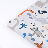 """Фланель детская """"Динозавры оранжевые, синие, серые"""", ширина 180 см, фото 5"""