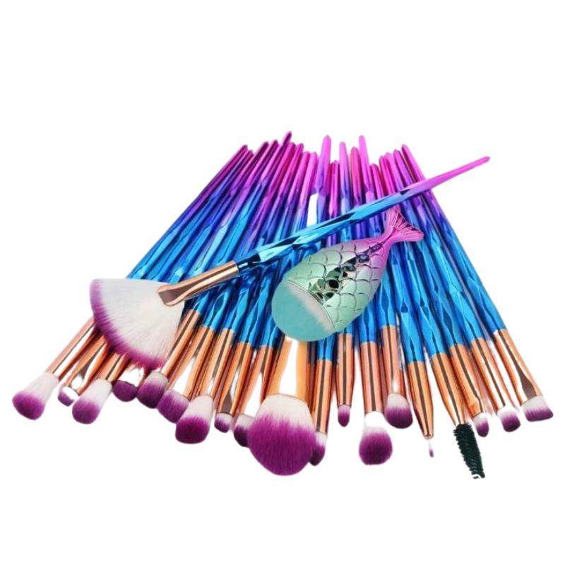 Набір якісних кісточок для макіяжу, 21 шт.  Фіолетово-голубі кисті для макіяжу в стилі Diamond..