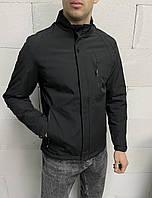 Черная мужская куртка осень-весна на молнии короткая до +15 , Турция Мужские ветровки короткие батальные