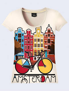 Женская Футболка город Амстердам