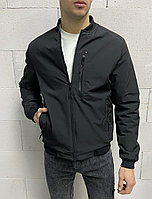 Черная мужская куртка осень-весна короткая до +15 , Турция Мужские ветровки батальные M, L, XL, XXL, 3XL, 4XL