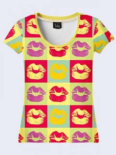 Женская Футболка Цветные Поцелуи