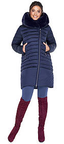 Куртка трендовая синяя женская модель 31038 (ОСТАЛСЯ ТОЛЬКО 38(4XS))