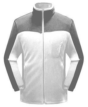 Мужская флисовая кофта белого цвета  с серой  вставкой XS