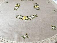 Скатертина лляна сіра Овальна з вишивкою ручної роботи 180*150 см