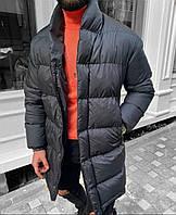 Чоловіча стильна подовжена куртка на синтепоні